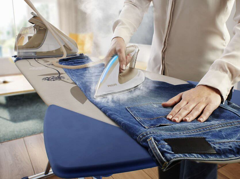 глажка передней части джинс
