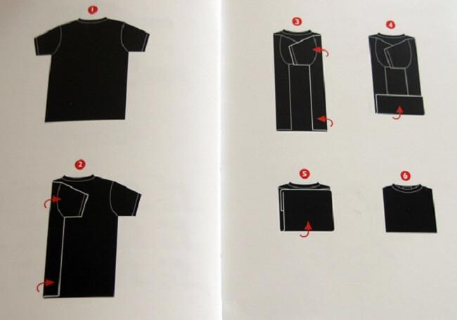 классический метод складывания футболок