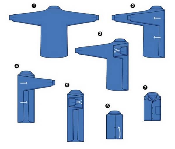 складывание рубашки рукава в сторону